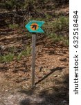 Wooden Arrow Sign In A Forest...