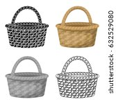 straw basket for carrying... | Shutterstock .eps vector #632529080