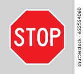 red vector stop sign with white