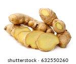 fresh ginger on a white... | Shutterstock . vector #632550260