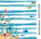watercolor nautical background. ... | Shutterstock . vector #632551529