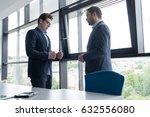 business partner shake hands on ... | Shutterstock . vector #632556080