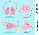 cute cartoon organs do exercise ... | Shutterstock .eps vector #632557388