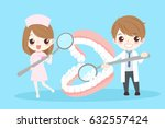 cute cartoon dentist with... | Shutterstock .eps vector #632557424