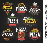 vector collection of pizza... | Shutterstock .eps vector #632559308