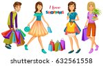 happy people with shopping....   Shutterstock .eps vector #632561558