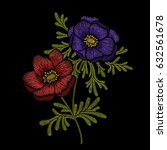 embroidery floral pattern with... | Shutterstock .eps vector #632561678