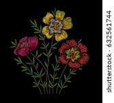 embroidery floral pattern with... | Shutterstock .eps vector #632561744