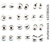 comic cartoon eyes with... | Shutterstock .eps vector #632580626