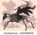 death on horseback skeleton.... | Shutterstock .eps vector #632588648