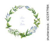 watercolor hand painted round... | Shutterstock . vector #632597984