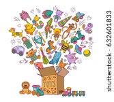 childrens box for toys. doodle... | Shutterstock .eps vector #632601833