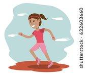 girl runner sport school... | Shutterstock .eps vector #632603660