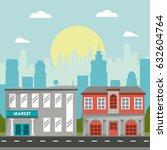 market commercial building... | Shutterstock .eps vector #632604764