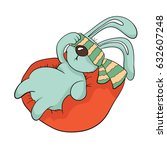 tired rabbit with a blindfold... | Shutterstock .eps vector #632607248