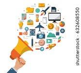 hand holding megaphone advert... | Shutterstock .eps vector #632608550