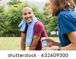 mature man with towel around... | Shutterstock . vector #632609300