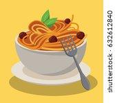 bowl spaghetti and meatballs...   Shutterstock .eps vector #632612840