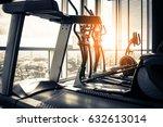 close up treadmill in fitness... | Shutterstock . vector #632613014