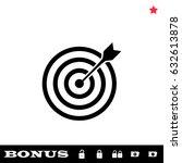 target bullseye arrow icon flat.... | Shutterstock . vector #632613878