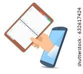 a human hand through the mobile ... | Shutterstock .eps vector #632617424