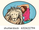 female stylist hairdresser cuts ... | Shutterstock .eps vector #632622794