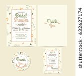 colorful flowers wedding... | Shutterstock .eps vector #632627174