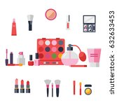 makeup and cosmetics icon set ... | Shutterstock .eps vector #632633453