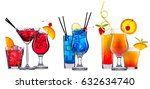 alcohol cocktail set on a white ... | Shutterstock . vector #632634740