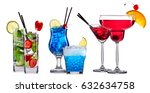 alcohol cocktail set on a white ... | Shutterstock . vector #632634758