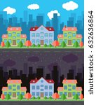 city with cartoon houses and... | Shutterstock . vector #632636864