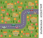 plan of village. landscape with ... | Shutterstock . vector #632637449