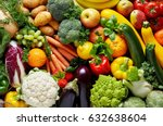 different colorful fruits and... | Shutterstock . vector #632638604