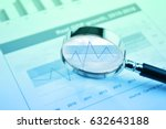 rise graph with magnifying... | Shutterstock . vector #632643188