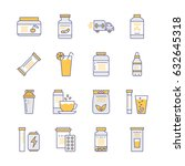 sport nutrition flat line icons.... | Shutterstock .eps vector #632645318