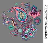 Ornate ornament with Fantastic flowers with paisley and butterflies. Flower ornament pink and emerald color.