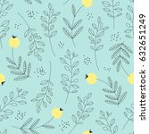 seamless pattern with leaves... | Shutterstock .eps vector #632651249