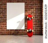 skateboard on room with a white ... | Shutterstock . vector #632651429