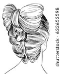 woman with braided bun   Shutterstock .eps vector #632653598