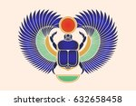 beetle scarab with wings  sun... | Shutterstock . vector #632658458