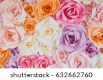 Stock photo rose flowers paper background 632662760