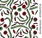 seamless pattern with red and... | Shutterstock .eps vector #632663216