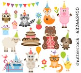 set of different animals on... | Shutterstock .eps vector #632663450