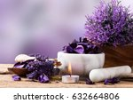 spa massage setting  lavender... | Shutterstock . vector #632664806