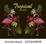 embroidery stitches with... | Shutterstock .eps vector #632664848