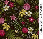 embroidery seamless pattern... | Shutterstock .eps vector #632664884