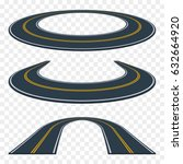 set of curved asphalt road in... | Shutterstock .eps vector #632664920