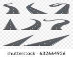 set of curved asphalt road in... | Shutterstock .eps vector #632664926