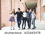 group of happy teen high school ... | Shutterstock . vector #632665478