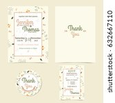 invitation or wedding card with ... | Shutterstock .eps vector #632667110